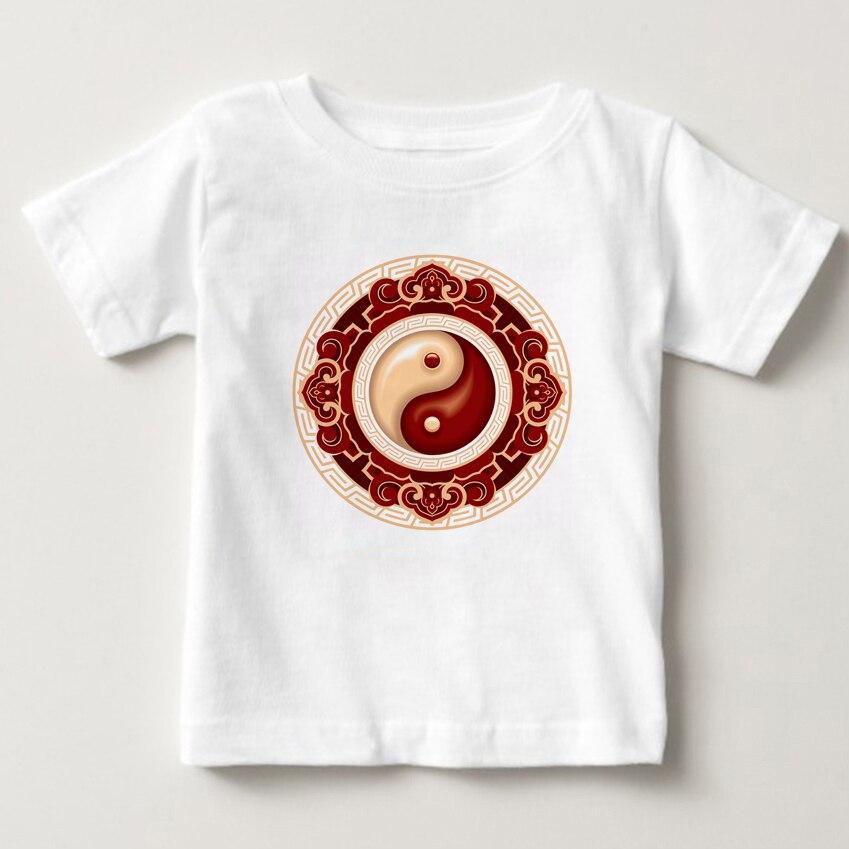 Футболки с коротким рукавом для мальчиков и девочек, летние футболки с принтом тайцзи, китайские футболки, детские футболки, Новинка
