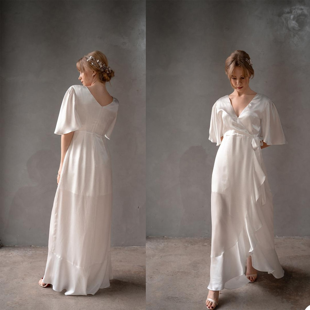 Simple  Women Sleepwear Bathrobe  Lace A Line Party Dressing Dress Custom Made Bath Robes De Mariée