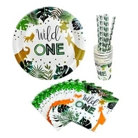 50pcsset disposable tableware for 10 guests wild one paper plates cups napkins straw jungle birthday party decorations supplies