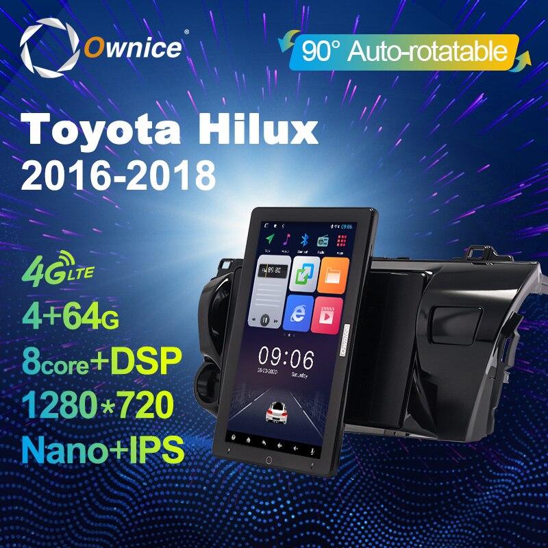 "Ownice Auto giratorio 1280*720 estilo Tesla DSP para Toyota Hilux recoger AN120 2015-2020 Auto Radio Multimedia reproductor de vídeo de 10,1"""