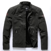 mens autumn winter motorcycle leather jacket velvet embroidered slim fashion coat with standing collar inside fleece mens wear