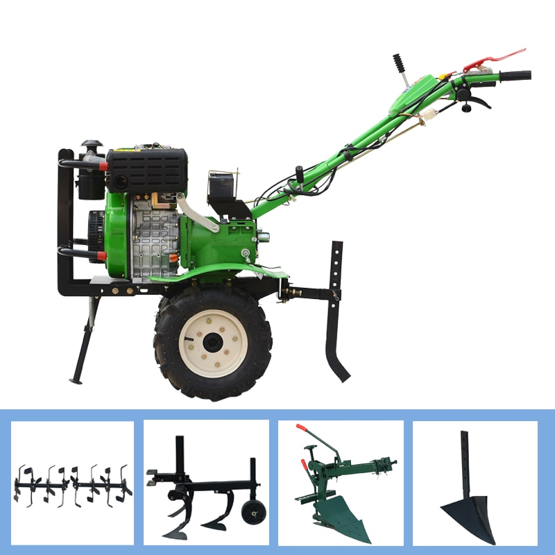 Micro cultivador de arranque eléctrico diésel 180, cultivador rotativo multifunción diésel, máquina para descascarar tierra seca y tierra suelta