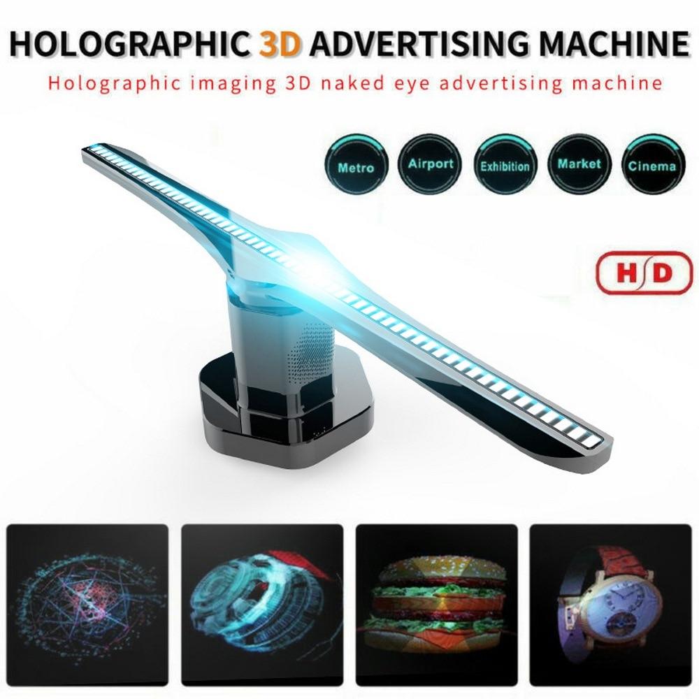 Proyector de luz holograma 3D enchufable 100-240V CA, pantalla de publicidad, ventilador LED, lámpara de imagen holográfica, reproductor de holograma remoto 3D
