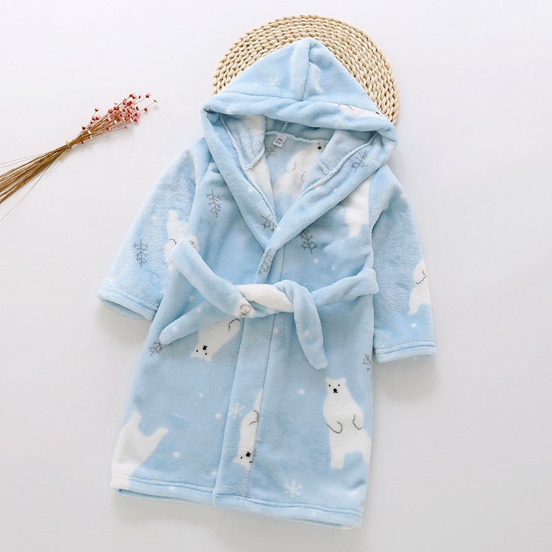 Children Flannel Robes Cartoon Kids Long Sleeve Hooded Pajamas For Baby Boys Girls Size 80-130CM Sleepwear TX186