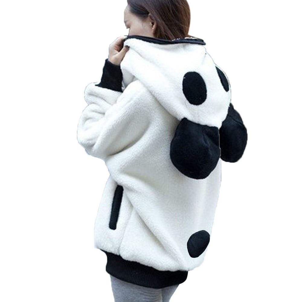 Cute Bear Ear Panda ciepła bluza z kapturem na zimę płaszcz kobiety z kapturem kurtka odzież wierzchnia piękny zamek bluzka bluzy kobiety свитшот