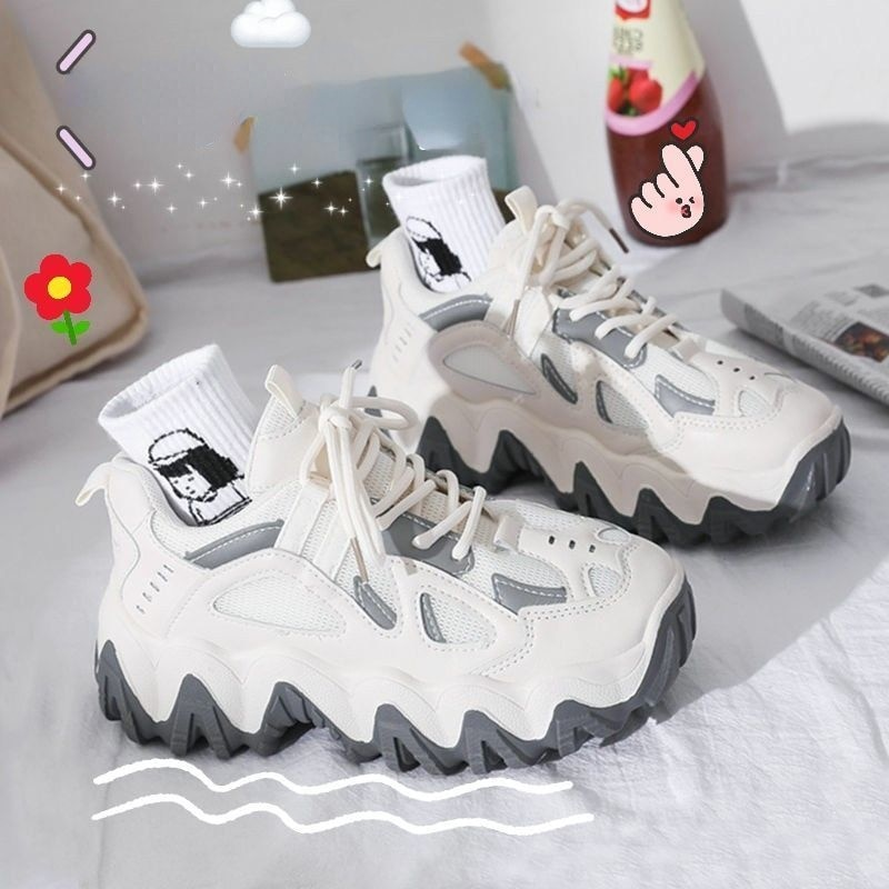 Women's Shoes Thick-soled Increased Mesh Breathable Old Shoes Women's 2021 Summer New Sports and Lei