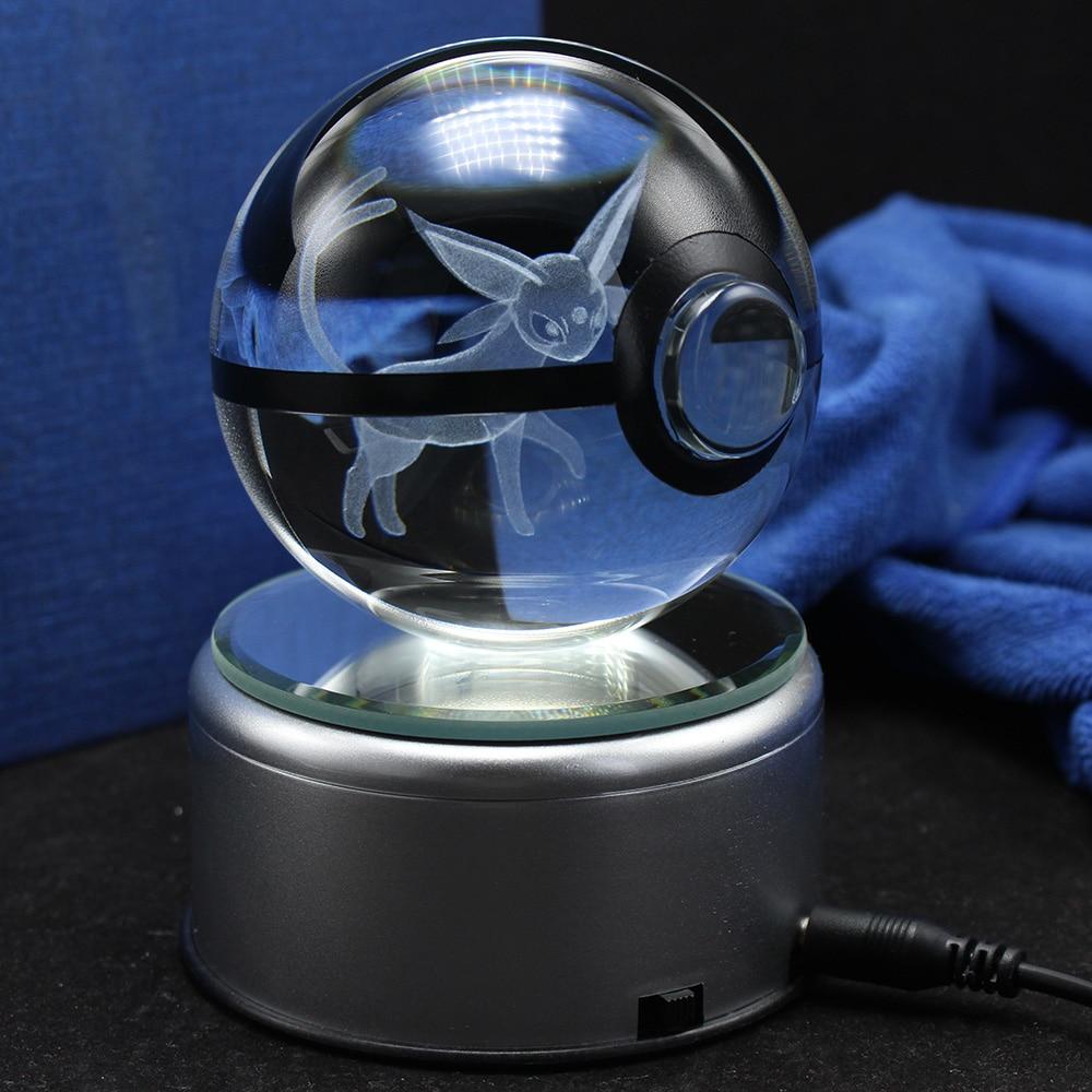 3d Lamp Pokemon Crystal Espeon Glass Ball Cartoon Animals Design Inside Action Figures Pokemon Toy Decorative Gifts