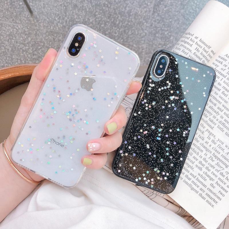 Ottwn блестящий чехол для телефона iPhone 11 чехол 11 Pro XS Max XR X 6 6s 7 8 Plus Love Heart Star блестки мягкий Блестящий Прозрачный чехол