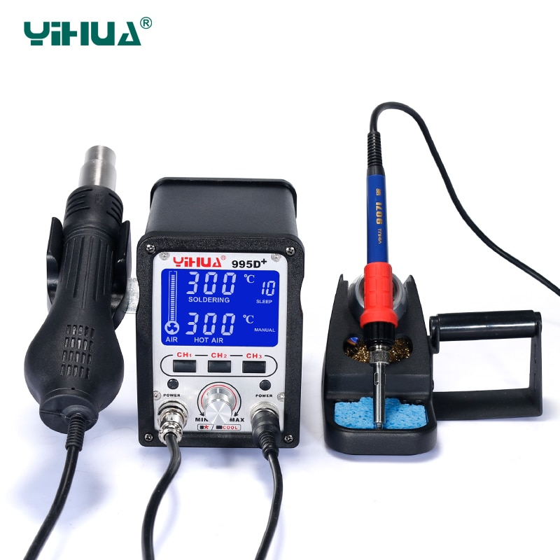 YIHUA-995D محطة لحام 60 واط ، مكواة لحام 650 واط ، مسدس هواء ساخن ، آلة إعادة صياغة bga smd ، أداة إصلاح الدوائر الإلكترونية