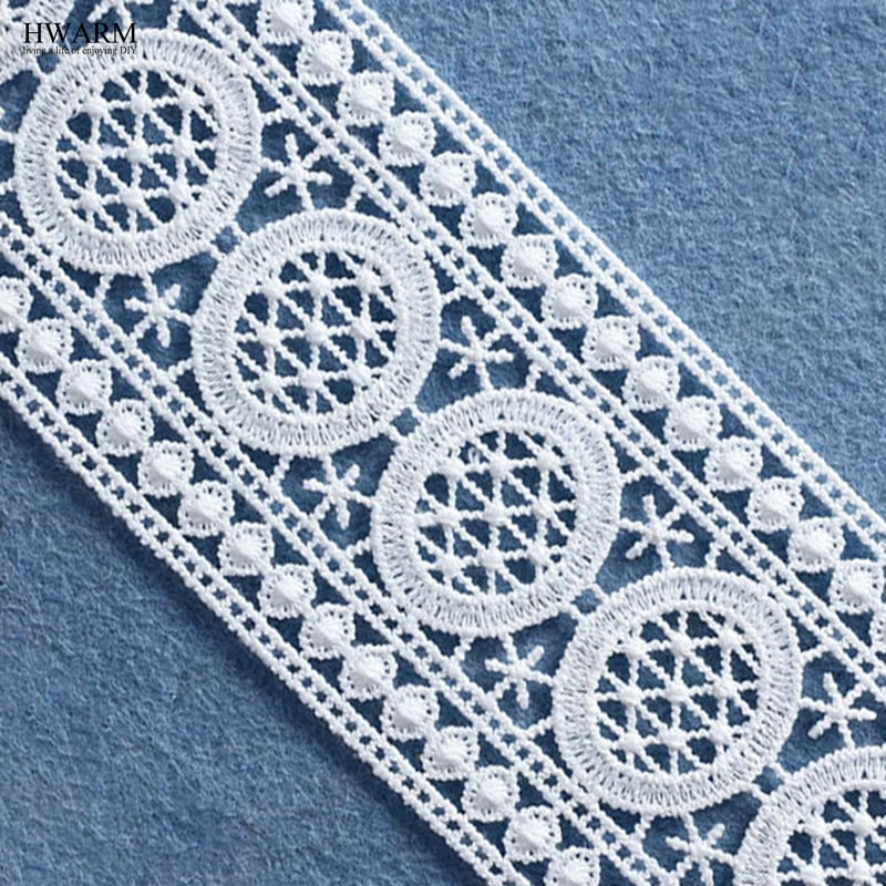 5 yardas de 6,5 cm de tela de encaje de boda accesorios de cortina DIY blanco bilateral bordado soluble en agua código de barras sin bala hueco