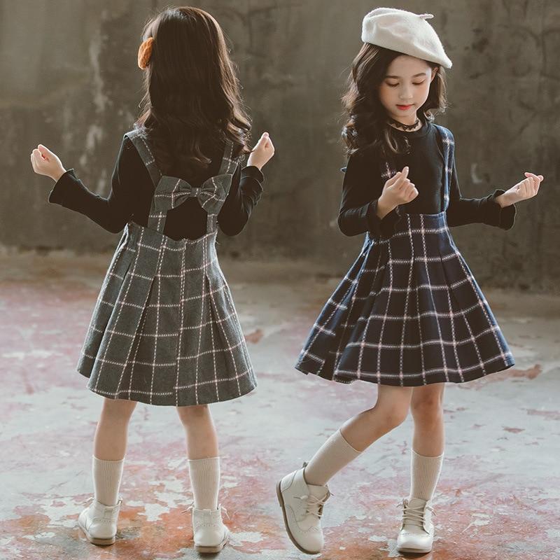 ¡Novedad de otoño! Conjuntos de ropa para niñas, camisetas + faldas con correa de cuadros, conjuntos de ropa para niños de 2 uds., traje de manga larga para niñas de 3 a 12 años