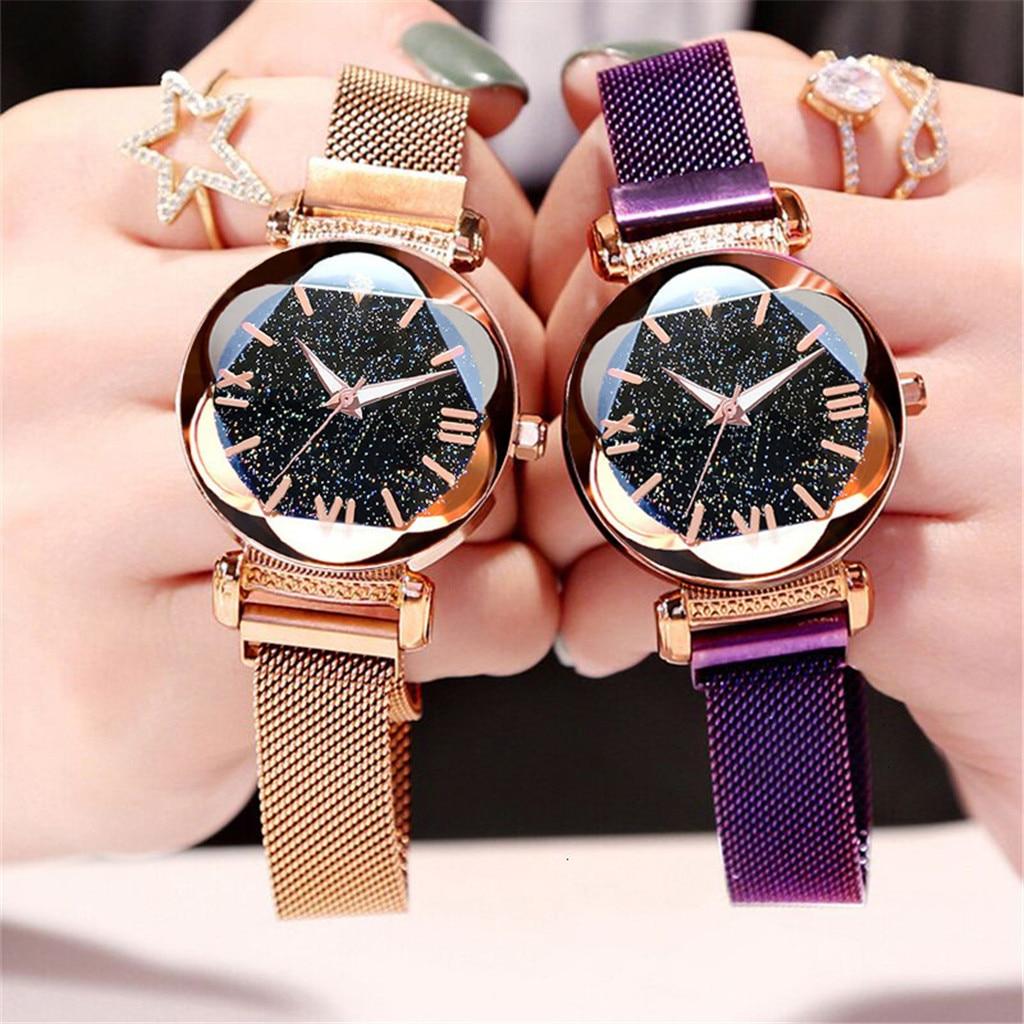 Dropshipping imán de mujeres hebilla cielo estrellado relojes de Número Romano de lujo señoras de acero inoxidable relojes de pulsera de regalo de cuarzo reloj