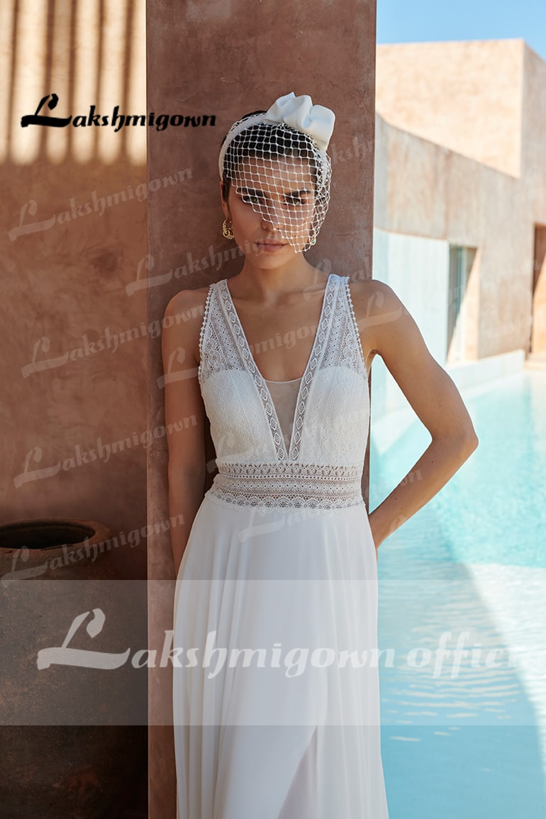 Chic Bridal Dress 2022 V neck Off White Chiffon Long Beach Wedding Dresses top lace Lakshmigown Vestido de Novia
