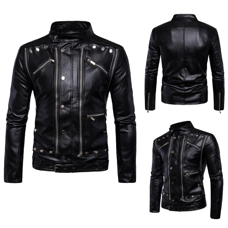 Wallet men's 2021 new spring and autumn motorcycle jacket fashion multi-zipper design solid color stand-up collar high-quality j