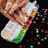 12 grid box mixed color nail sequins laser butterfly flower plum blossom maple leaf star love diy nail patch jewelry nail art