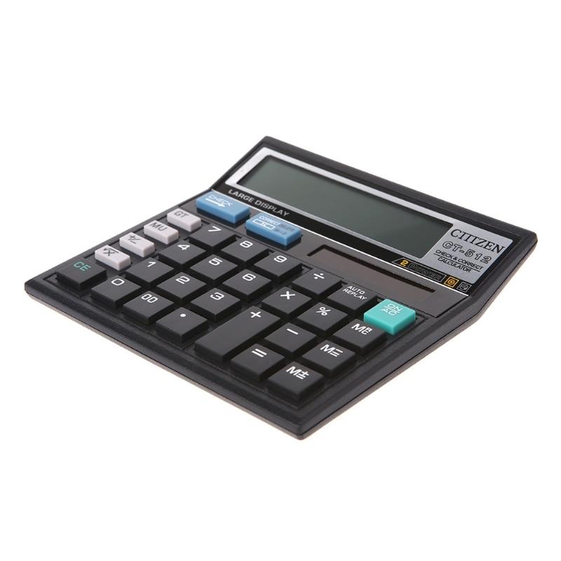 Batería Solar de 12 dígitos Doble potencia Calculadora de escritorio de oficina con pantalla grande CT-512 667C