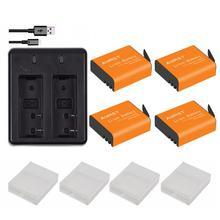 4pcs 1350mAh PG1050 SJ4000 PG900 battery + USB Dual charger For SJCAM SJ5000 SJ6000 SJ8000 M10 EKEN