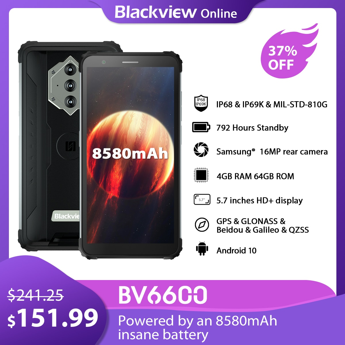 Blackview BV6600 IP68 Waterproof Smartphone 4GB+64GB 8580mAh Rugged  NFC Mobile Phone 5.7