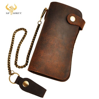 Мужской кожаный кошелек с железной цепочкой Emboss