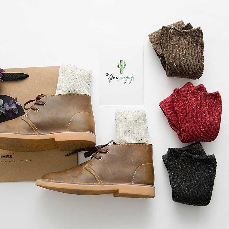 High Quality Warmer Cotton Art Socks Women Creative Yarn Heap Heap Socks Autumn/Winter Pure Color Socks Women Calcetines Mujer