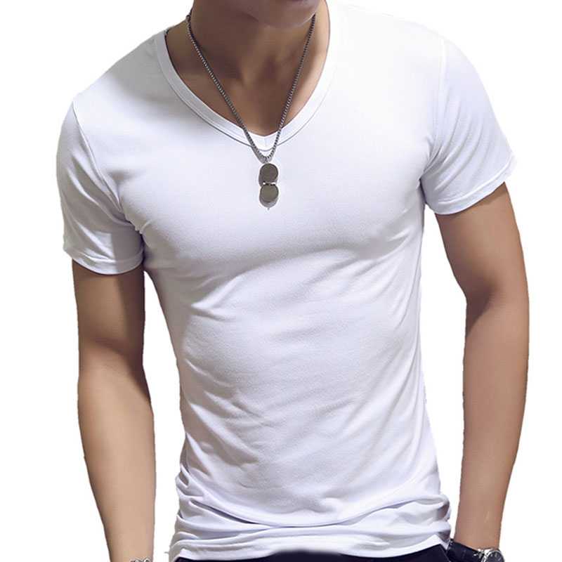 Men T Shirt Fashion Fitness V Neck  Short Sleeve T-Shirt Summer Casual Gym Solid Color Tops Plus Size Slim Polyester T-Shirts covrlge 2019 t shirt men short sleeve solid tshirt mens fashion slim fit t shirts casual o neck tshirts fitness clothing mts2911