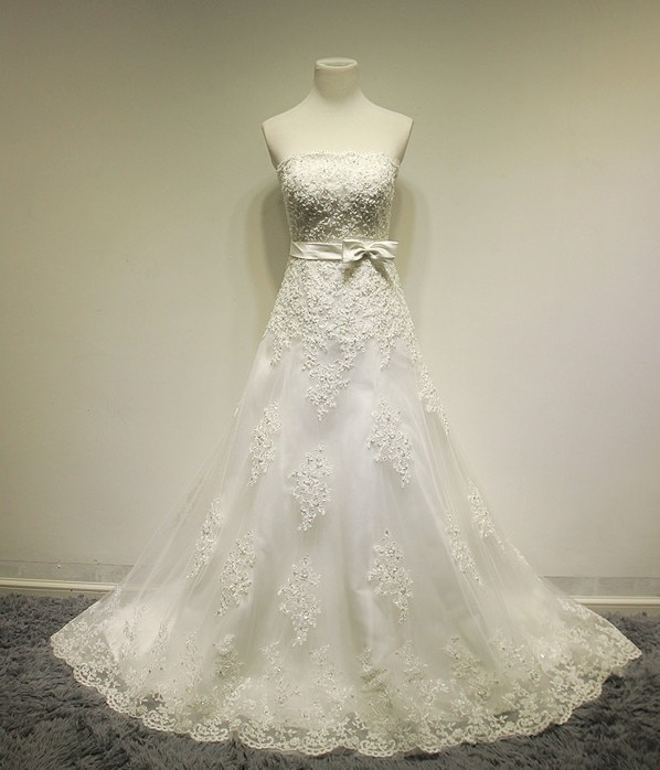 2020 real photo sale tassel free shipping formal gown new custom dress long sleeve with jacket plus size bespoke wedding dresses dress luxury free shipping romantic real photos 2020 new fashionable bow lace appliques long bridal gown Bespoke Wedding Dresses