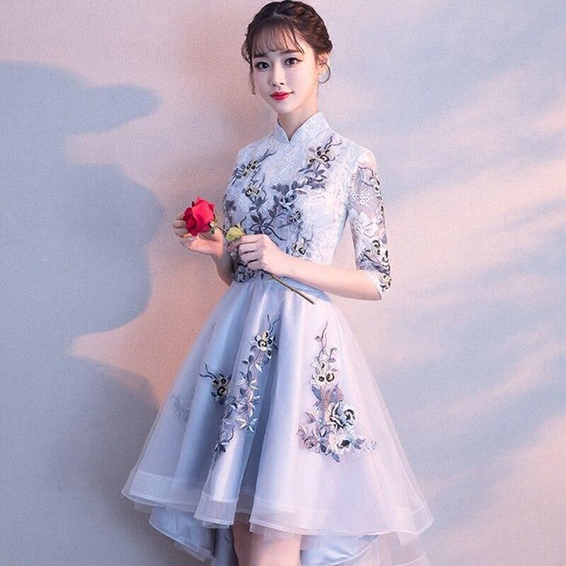 Banquet party evening dress Chinese cheongsam evening dress elegant embroidery evening dress cocktail dress formal evening dress