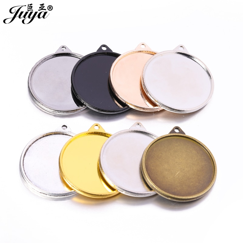 40PCS Double Sided Charm Pendant Base For Necklace Keychain DIY Jewelry Making Crafts 30mm Cabochon Tray Jewellery Findings