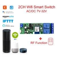 Tuya     commutateur Wifi sans fil  2 canaux  Module de commutateur intelligent  application Smart life  telecommande RF  relais pour maison intelligente  Alexa Google Home