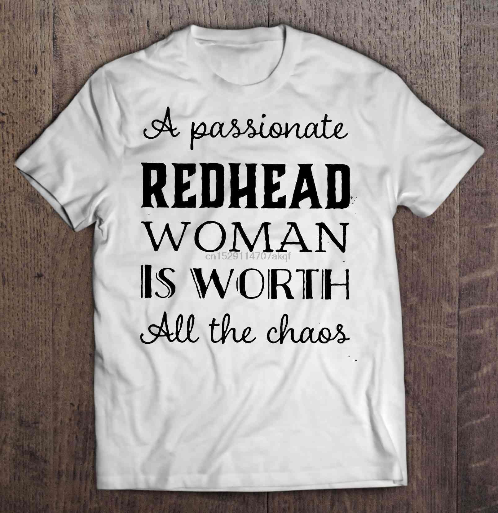 Camiseta divertida para hombre, camiseta A la moda, camiseta de mujer con una cabeza roja apasionada que vale todo el caos para mujer