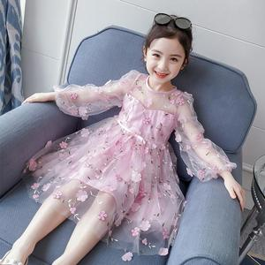 2021 New Pink Embroidery Korean  Flower Girl Dresses Puff Sleeve Ribbons Gauze Princess Children Clothes