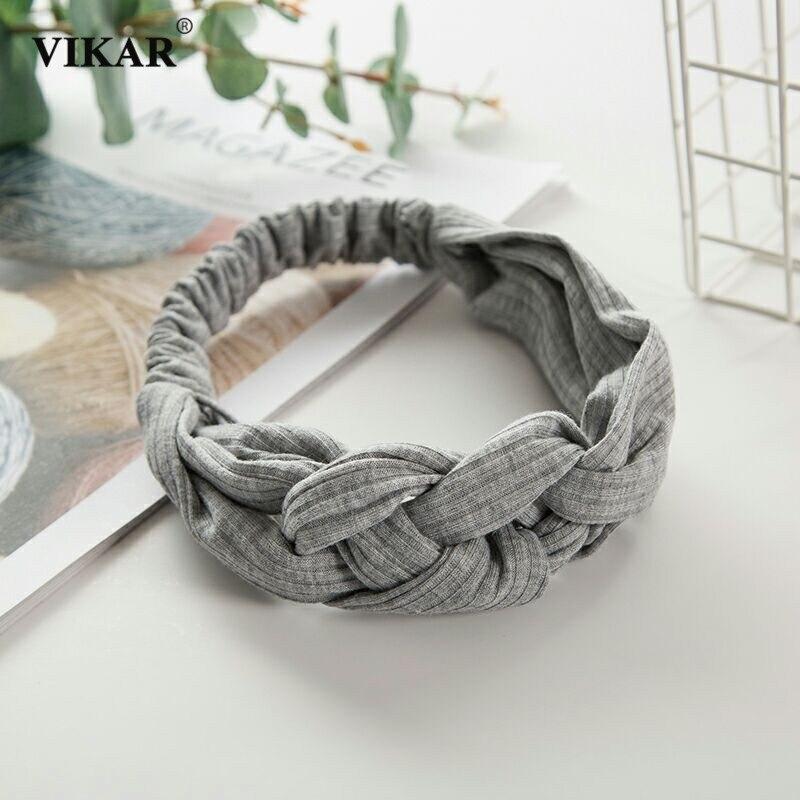 Knitted Headband Bandana Women Hair Accessories New Arrival Vintage Turban Twist Cross Hairband Solid Elastic Knot Headwear
