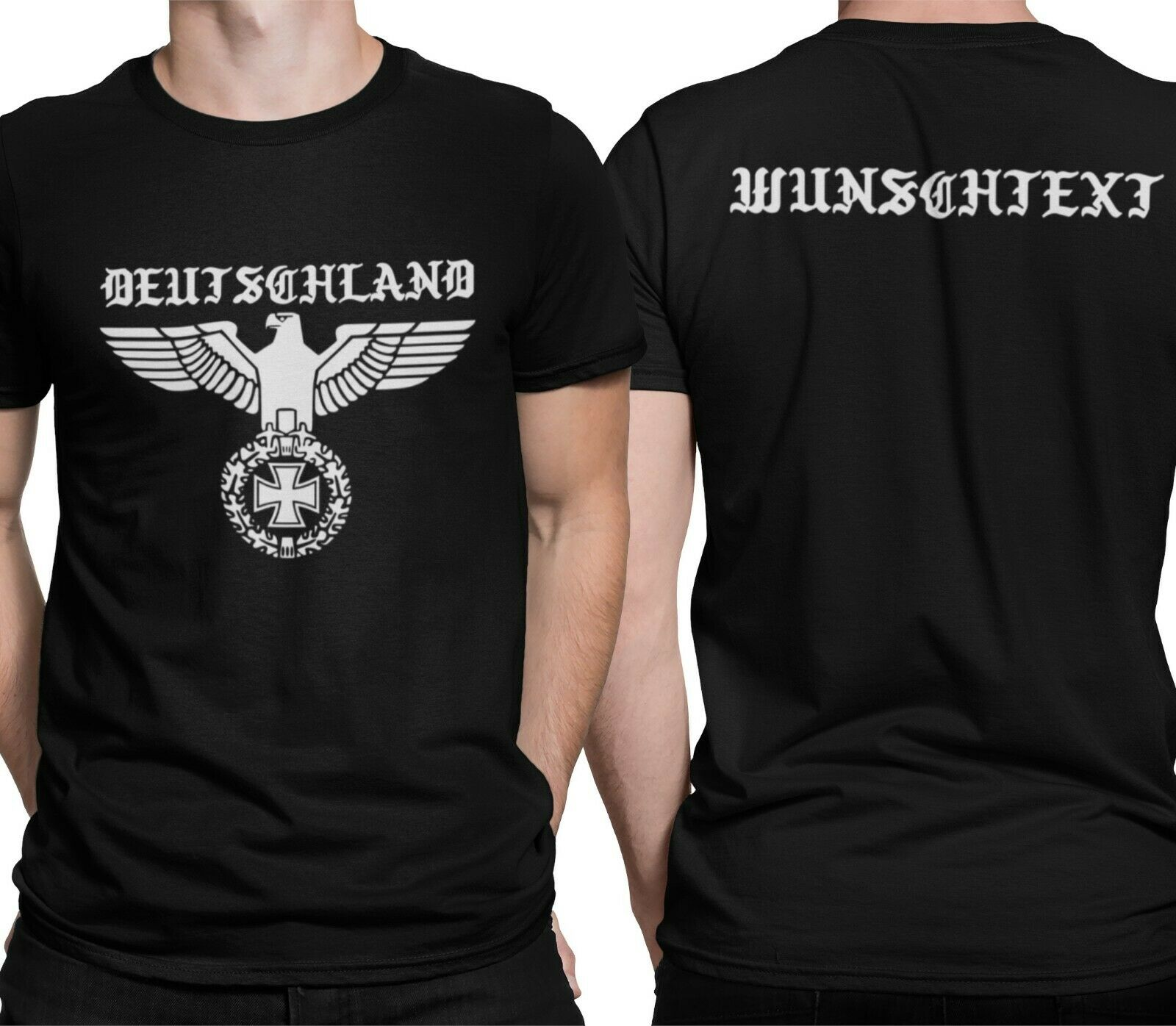 Немецкая Мужская футболка с надписью Wish Text Empire Eagles немецкая армия вермахт Короткая Повседневная Хлопковая мужская одежда