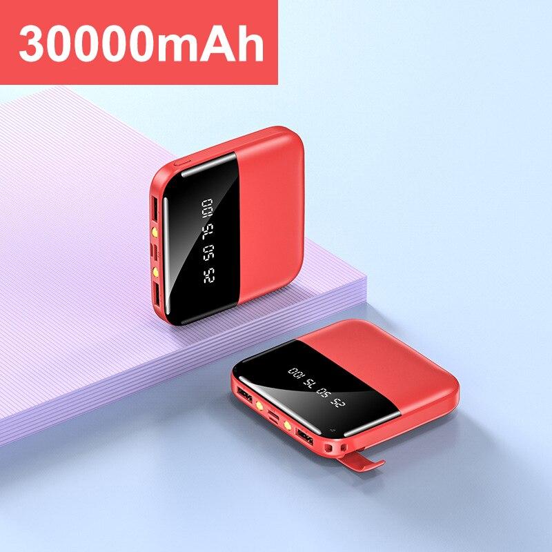 30000mAh Mini Power Bank Dual USB LED Display Poverbank Portable External Battery Charger Powerbank