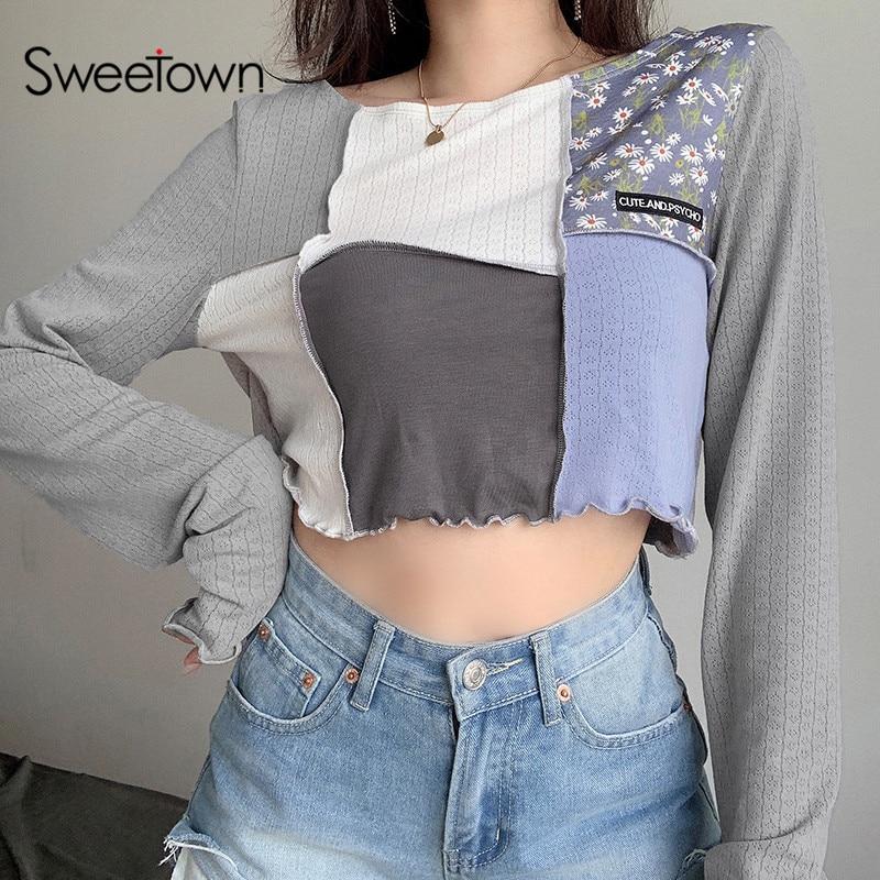 Sweetown Patchwork Long Sleeve Casual Shirt For Women Korean Fashion Style O-Neck Loose Crop Top Shirt 2020 Autumn Streetwear