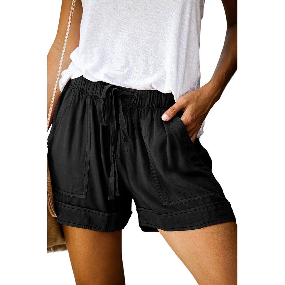 Повседневные летние шорты с высокой талией, широкие свободные шорты с широкими штанинами, женские уличные шорты