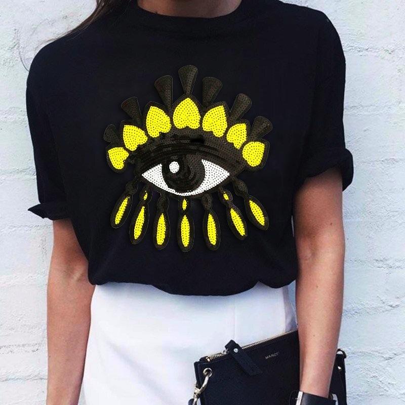Новый бренд весна-лето 2020, модная свободная Сексуальная футболка, футболка с вышитыми глазами и блестками, футболка для девочек, футболка для отдыха, топ, код, Женский Топ