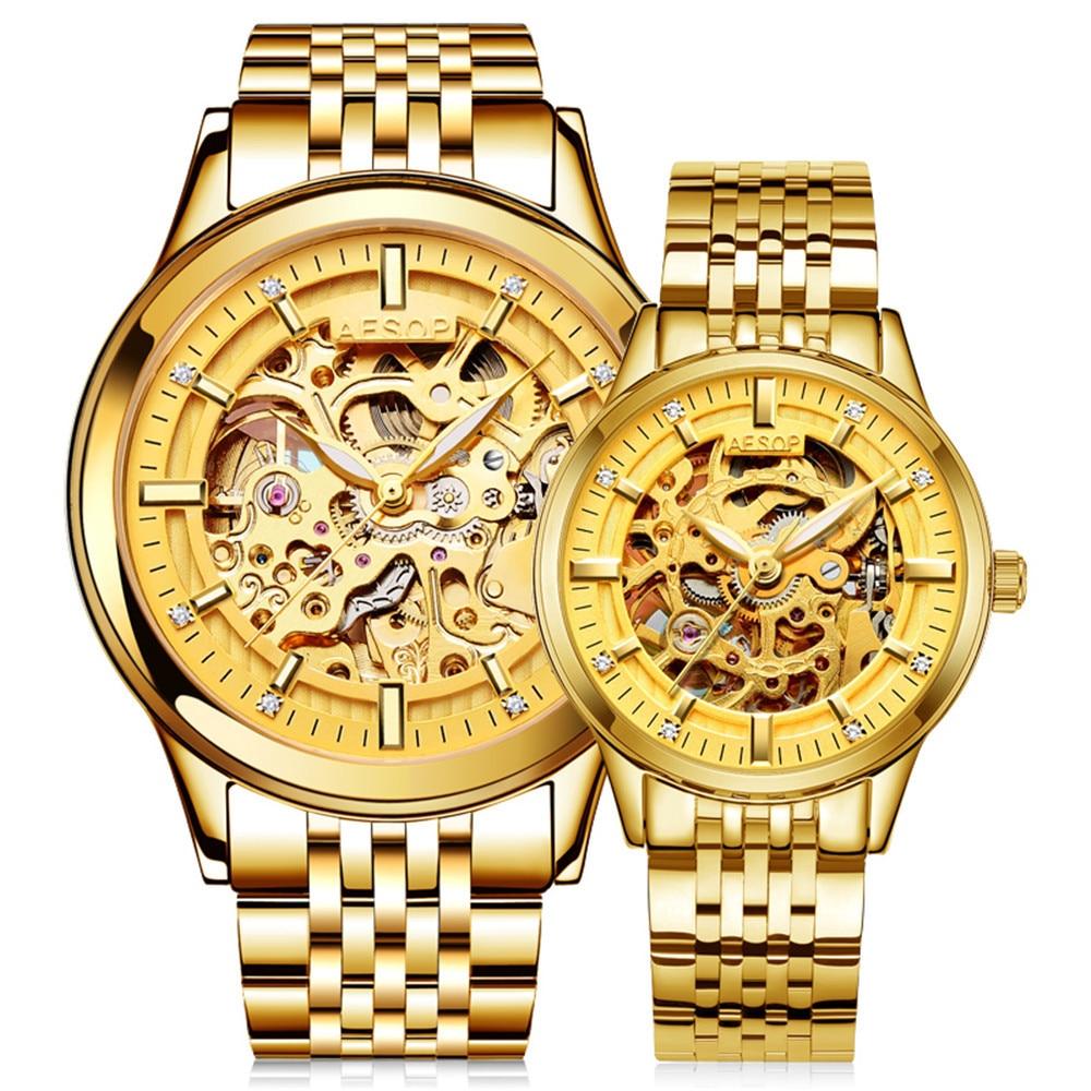 Reloj Hombre AESOP Gloden mecánico esqueleto par regalo para los amantes de Reloj Hombre mujer de acero Reloj femenino