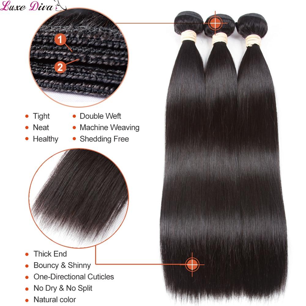 Straight Human Hair Bundles With Closure Brazilian Human Hair Weaves Bundles With Lace Closure Remy Human Hair Extension 28 30