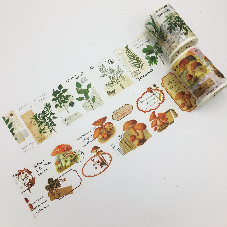 Bonito 6cm * 5m champignon e plante mundo washi fita/caixa embalagem/adesivo diy scrapbooking etiqueta fita adesiva