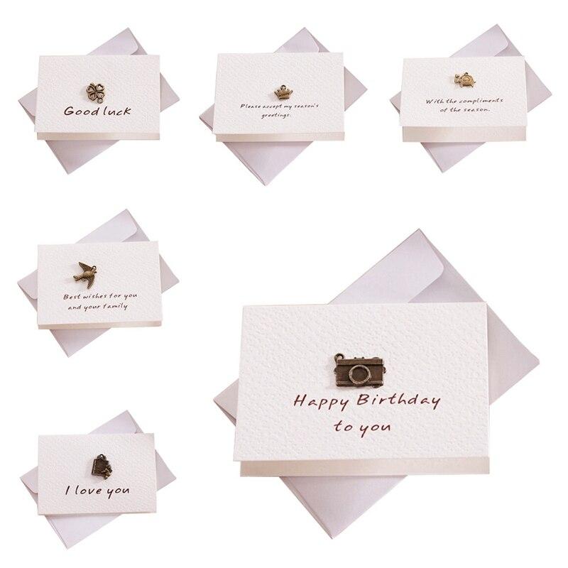 Открытка с конверт открытка на день рождения, Рождество, День Святого Валентина вечерние свадебные декоративные открытки Спасибо карты
