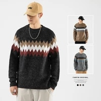 tuan high quality mens geometric pattern pullovers mens casual fashion knit sweaters
