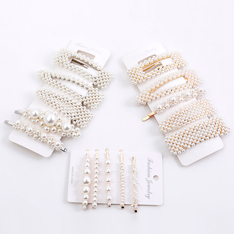 5PCS/set Fashion Women's Pearl Hair Clip Hair Clip Set Snap Hair Clip Girl Soft Hair Clip Headdress