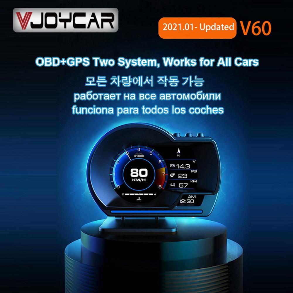 Vjoycar V60 Newest Head Up Display Auto Display OBD2+GPS Smart Car HUD Gauge Digital Odometer Securi