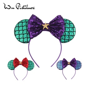 New Girls Hairband Green Mermaid Ears Headband Bows Sequins Headwear Christmas Accessories Minnie Ear Headband DIY Hair Band
