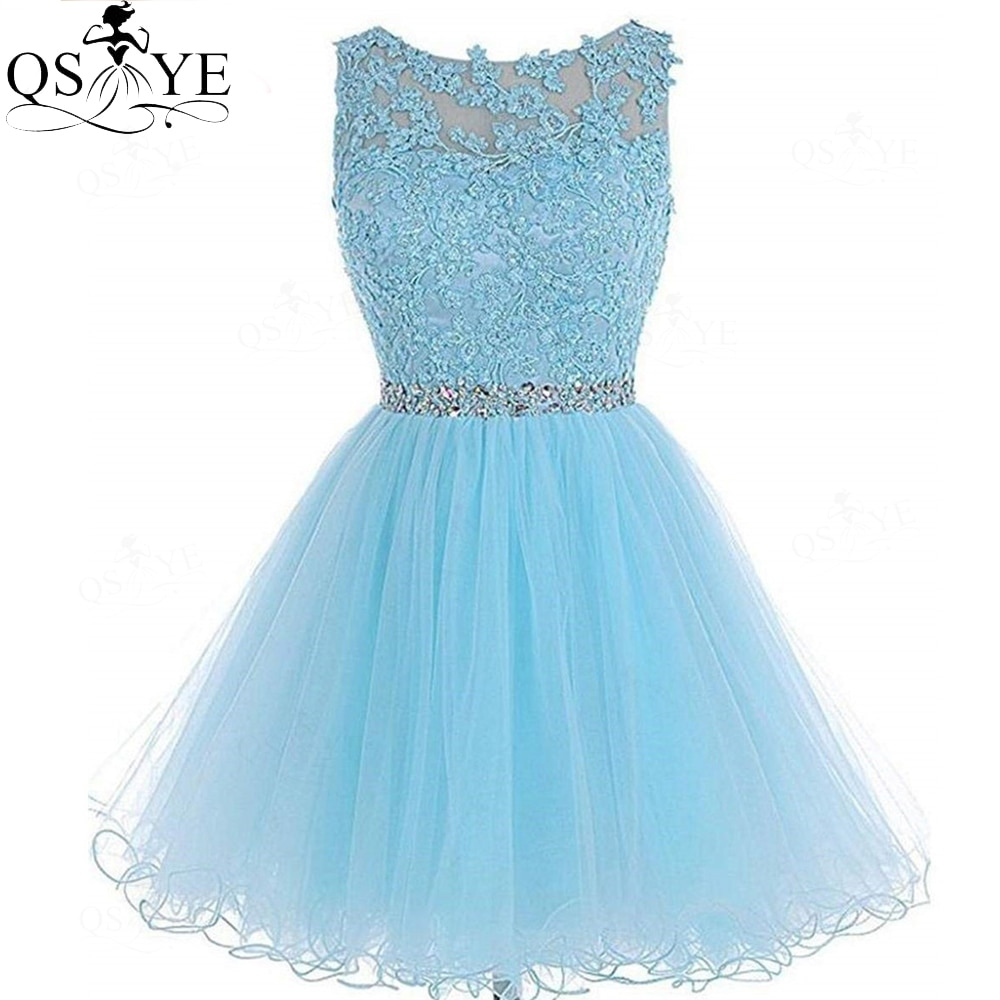 QSYYE Sky Blue Short Homecoming Dresses Lace Sexy Mini Prom Gown Appliques Party Dress A line Robe Vestido Mesh Evening Gown