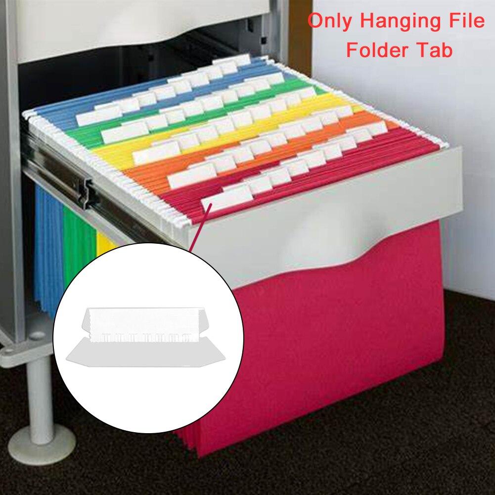 25pcs/box Sorting Hanging File Folder Tab Transparent DIY Stationery Documents Quick Identification Plastic School White Insert