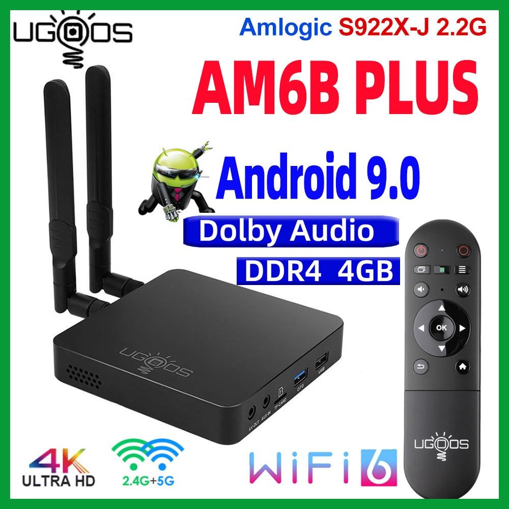 UGOOS AM6B Plus أندرويد 9.0 صندوق التلفزيون DDR4 4GB RAM 32GB ROM Amlogic S922X 4K مشغل الوسائط 2.4/5G واي فاي 1000M AM6 Plus TVBox Wifi6