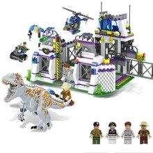 Violent Brutal Dinosaur Indominus Rex Breako Jurassic Dinosaur World 826pcs Lepinblock DIY Building Block Toys Gift For Children
