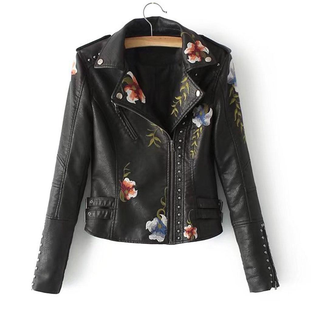 Feitong chaqueta de cuero bordada para mujer negro Delgado Cool Lady PU chaquetas de cuero Sweet Female Zipper Femme prendas de vestir abrigo 8M2